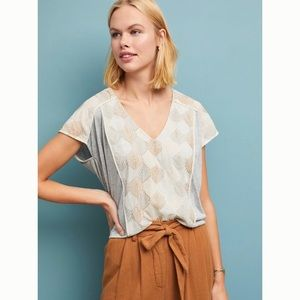 Anthro Tiny Sea Fan Embroidered Top